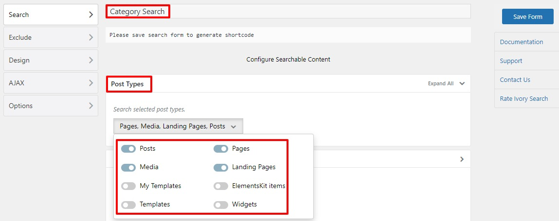 category specific search in WordPress