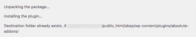fix destination folder already exists error in WordPress